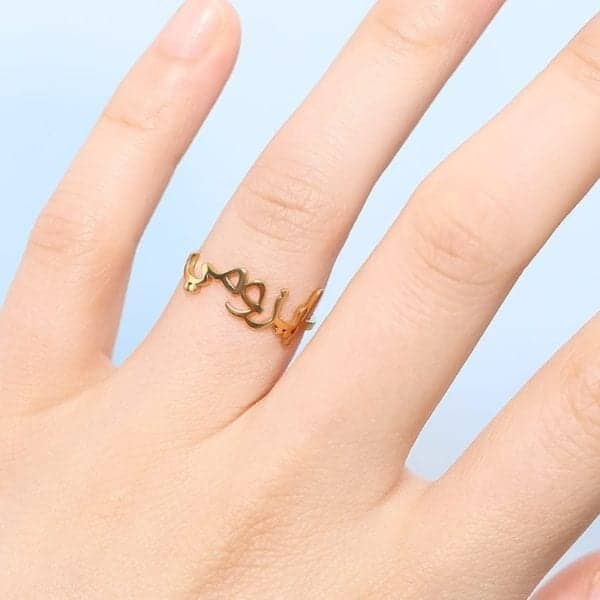 Islamic Ring Custom Arabic Rings For Women Men Anillos Arabe Bague Prenom Personalized Letters Name Ring